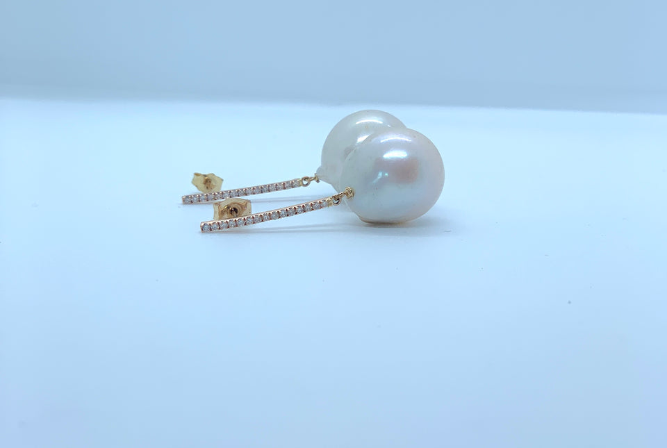 Diamond Baroque Pearl Earrings