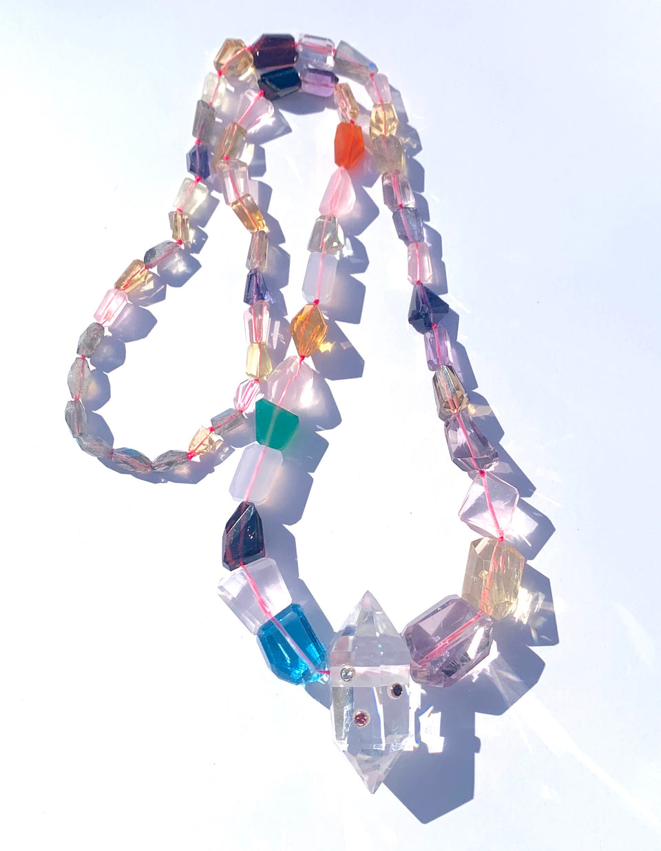 Power Crystal 3 point Rainbow Gemstone Necklace