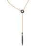 Black Spinel Talisman Lariat Necklace