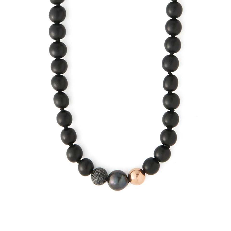 Black Diamond and Pearl Talisman Necklace