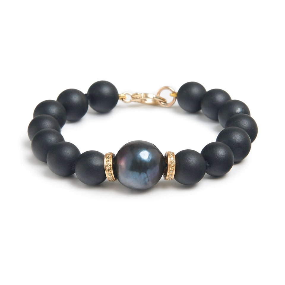 Diamonds and Black Pearl Bracelet