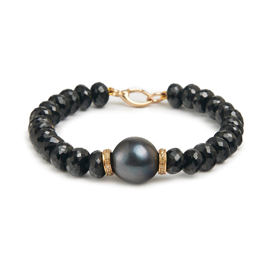 Black Pearl and Diamonds Talisman Bracelet