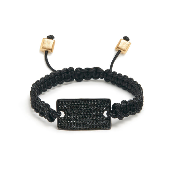 Black Spinel square I.D bracelet