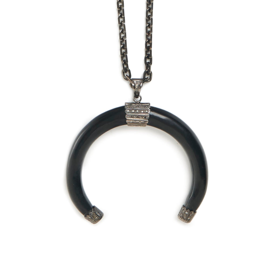 Black Horn + Diamond Talisman Necklace