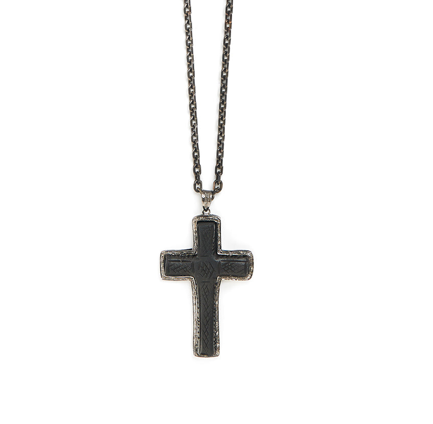 Black Ebony + Diamonds Cross Talisman Necklace