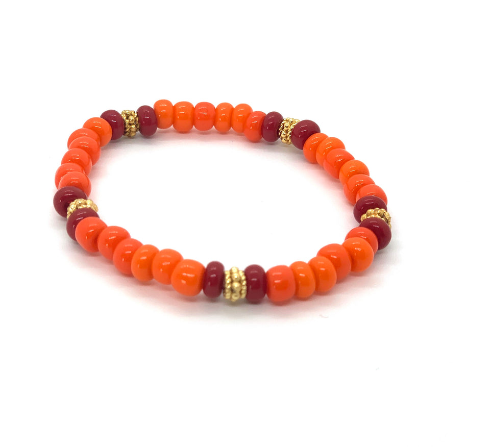 ML Orange & Gold Stretch Bracelet