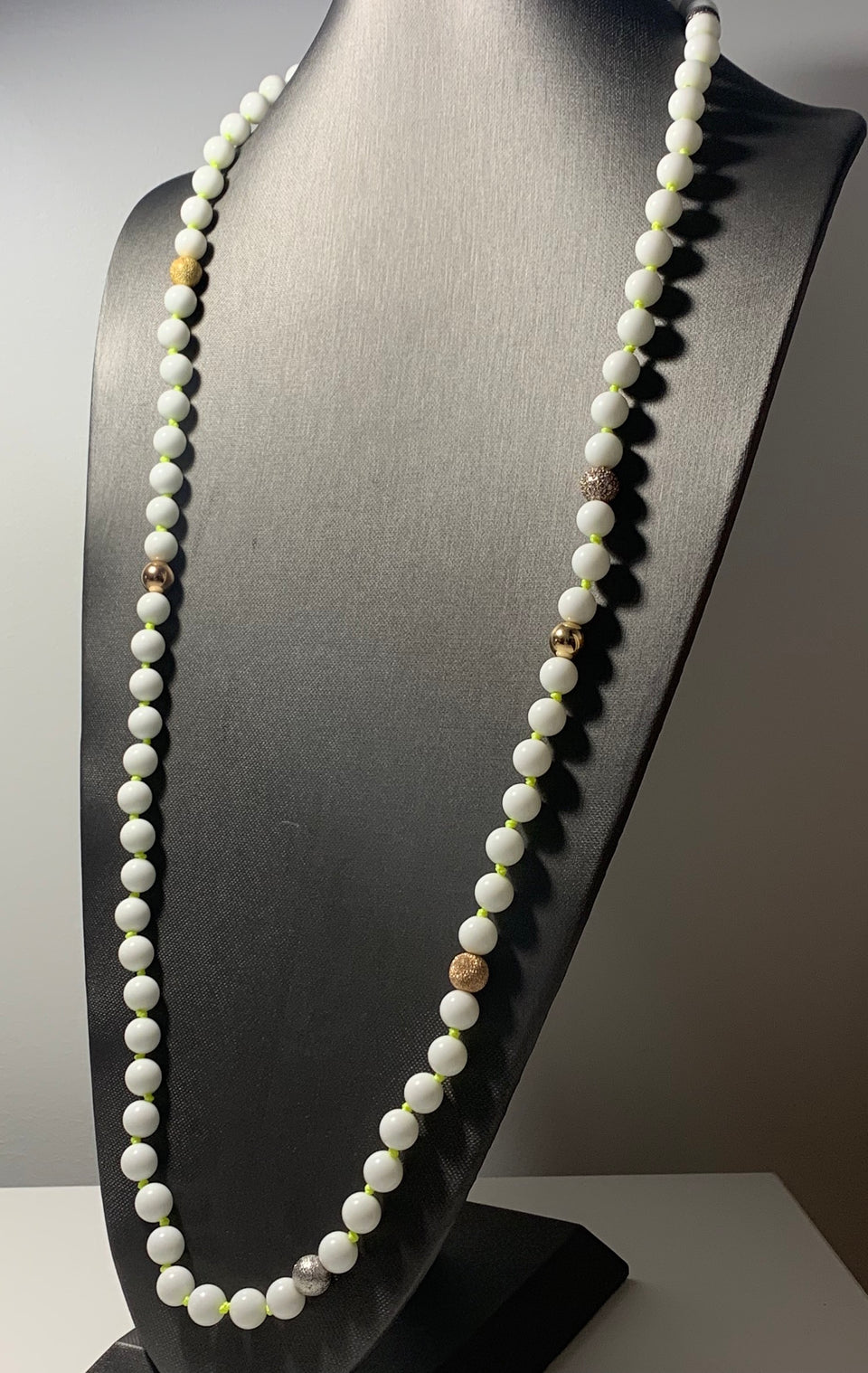 Lucky 7 Diamond White Onyx Necklace