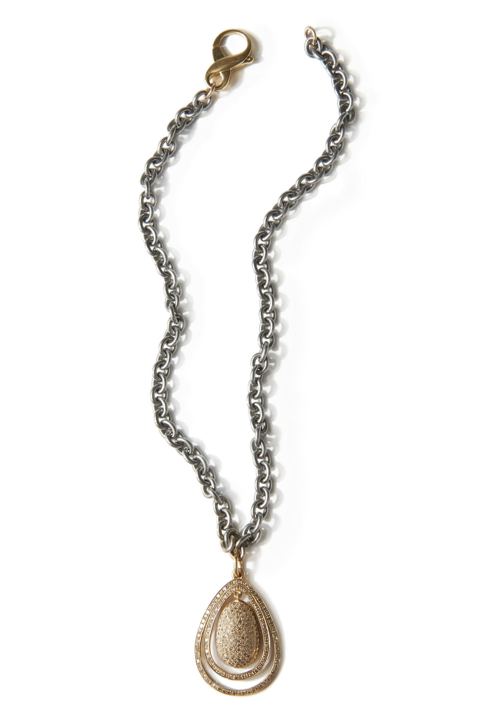 New Baroque Yellow Diamond &  Steel Necklace
