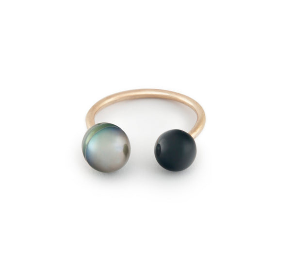 Black Onyx + Black Pearl Ring