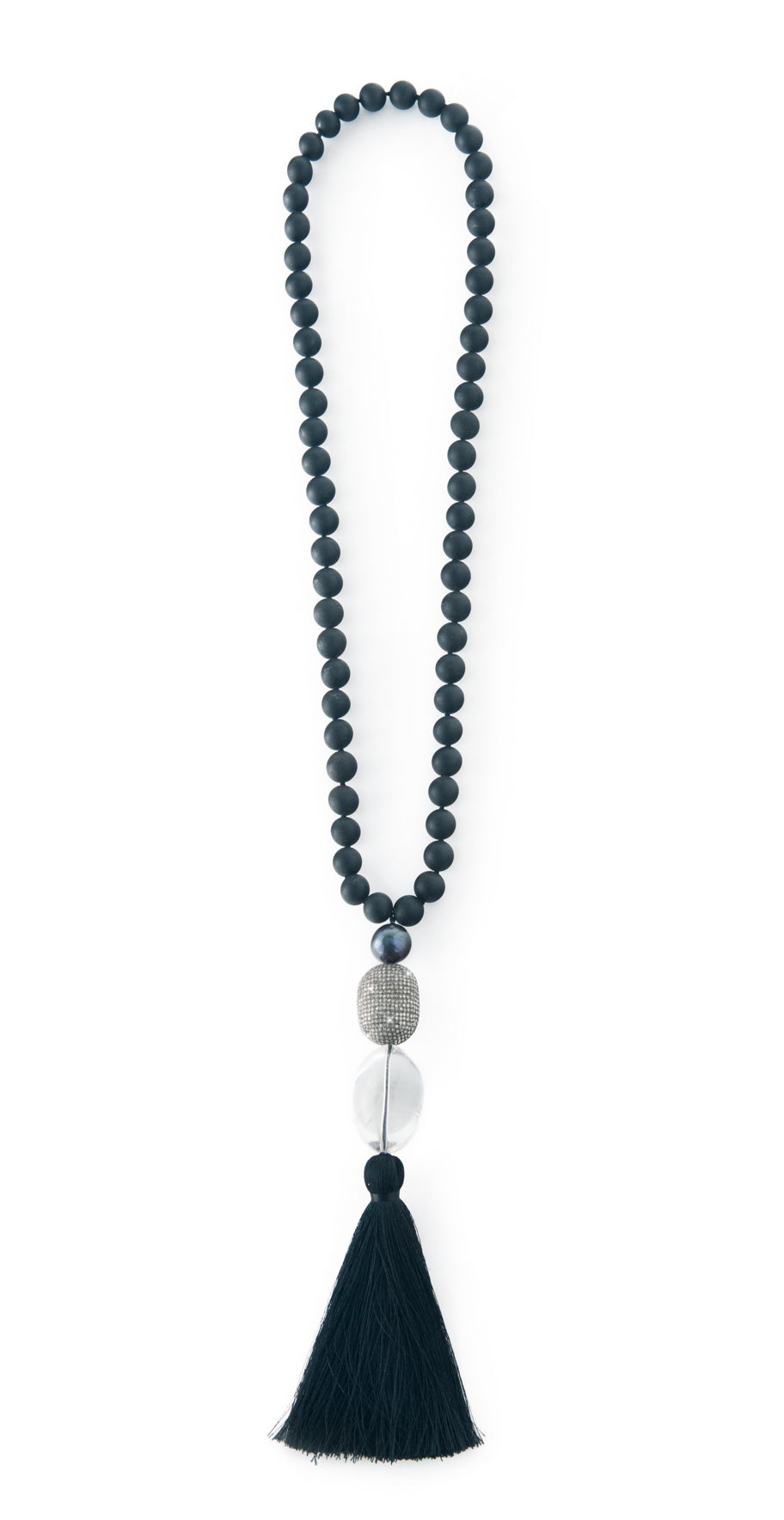 Black Diamonds and Pearls Mala Mala Necklace