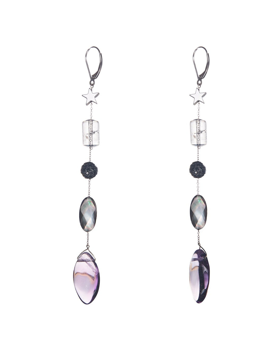 Crystals & Amethyst Diamond Drop Earrings