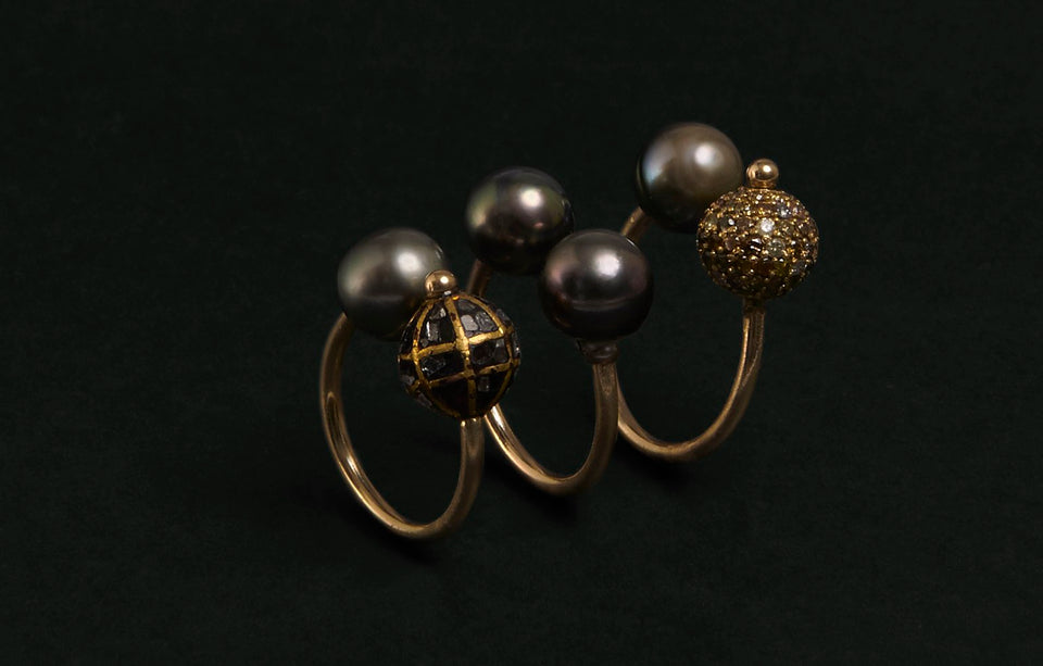Champagne Diamonds & South Sea Pearl Ring
