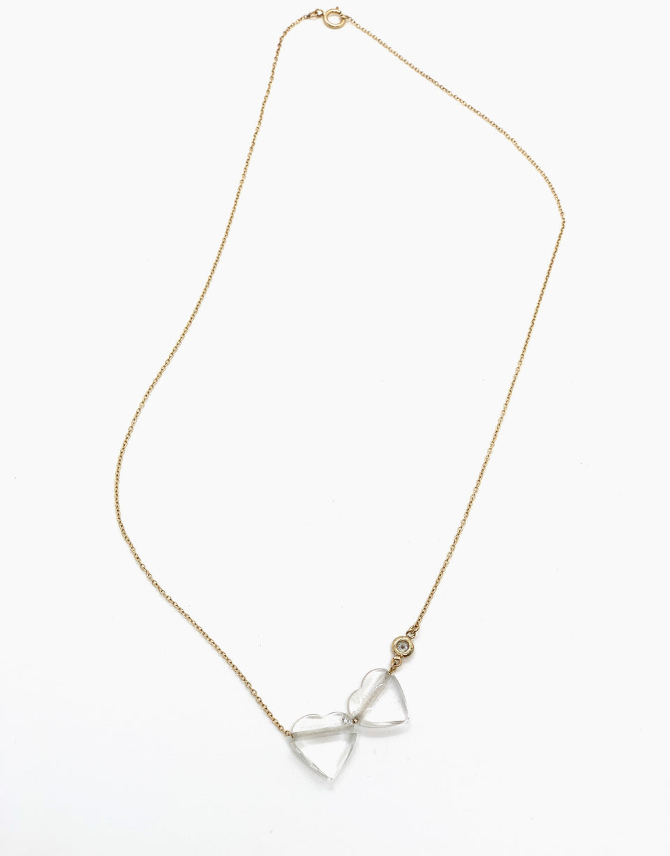Rock Quartz & Diamond Accent 14 KT Gold Necklace