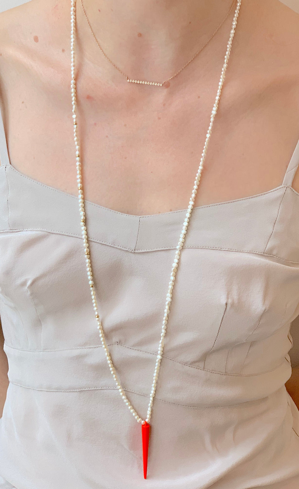 Cadmium Spike Pearl Necklace