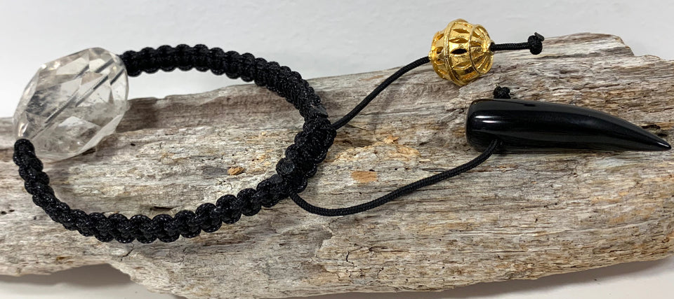 Rock Quartz & Black Obsidian bracelet