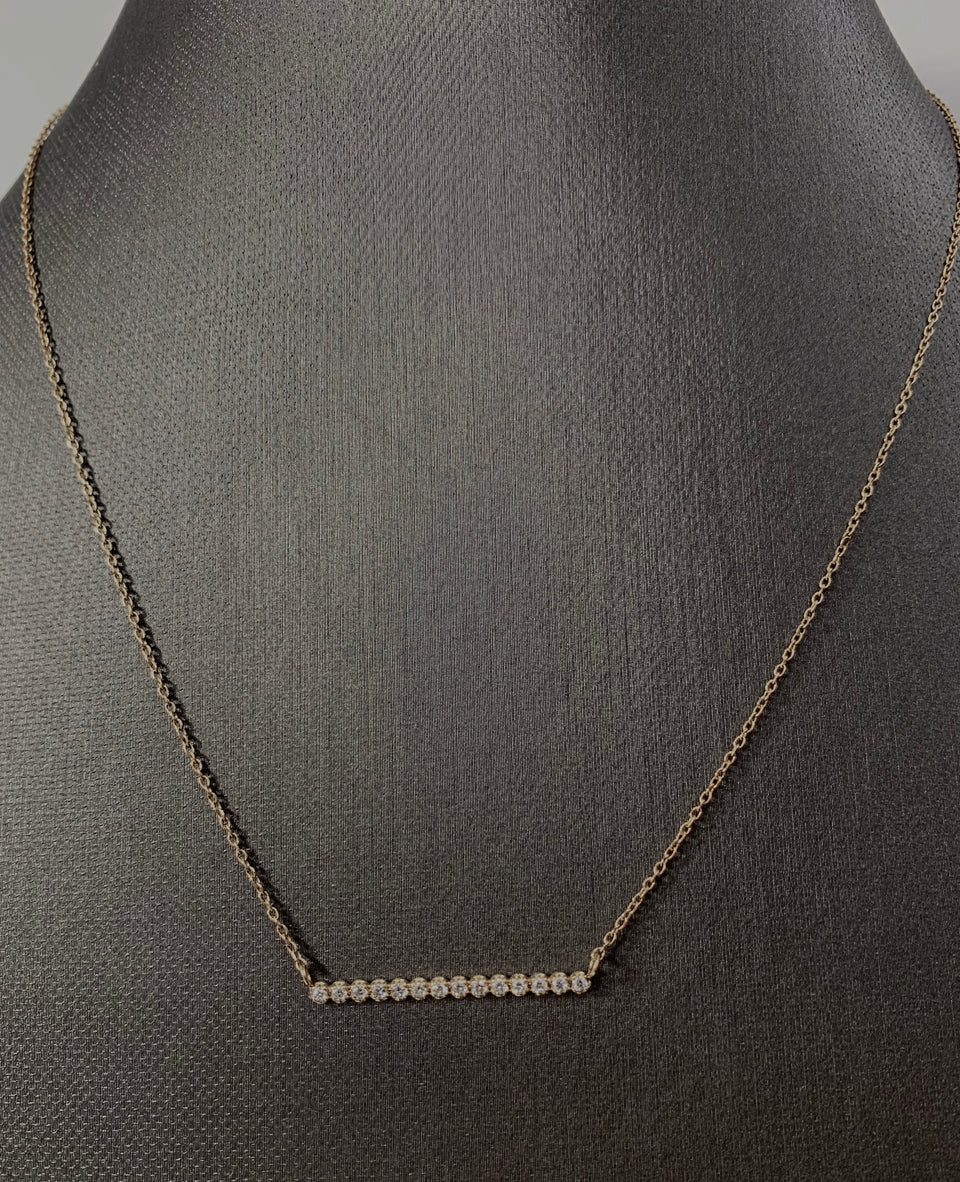 Diamond & gold bar necklace
