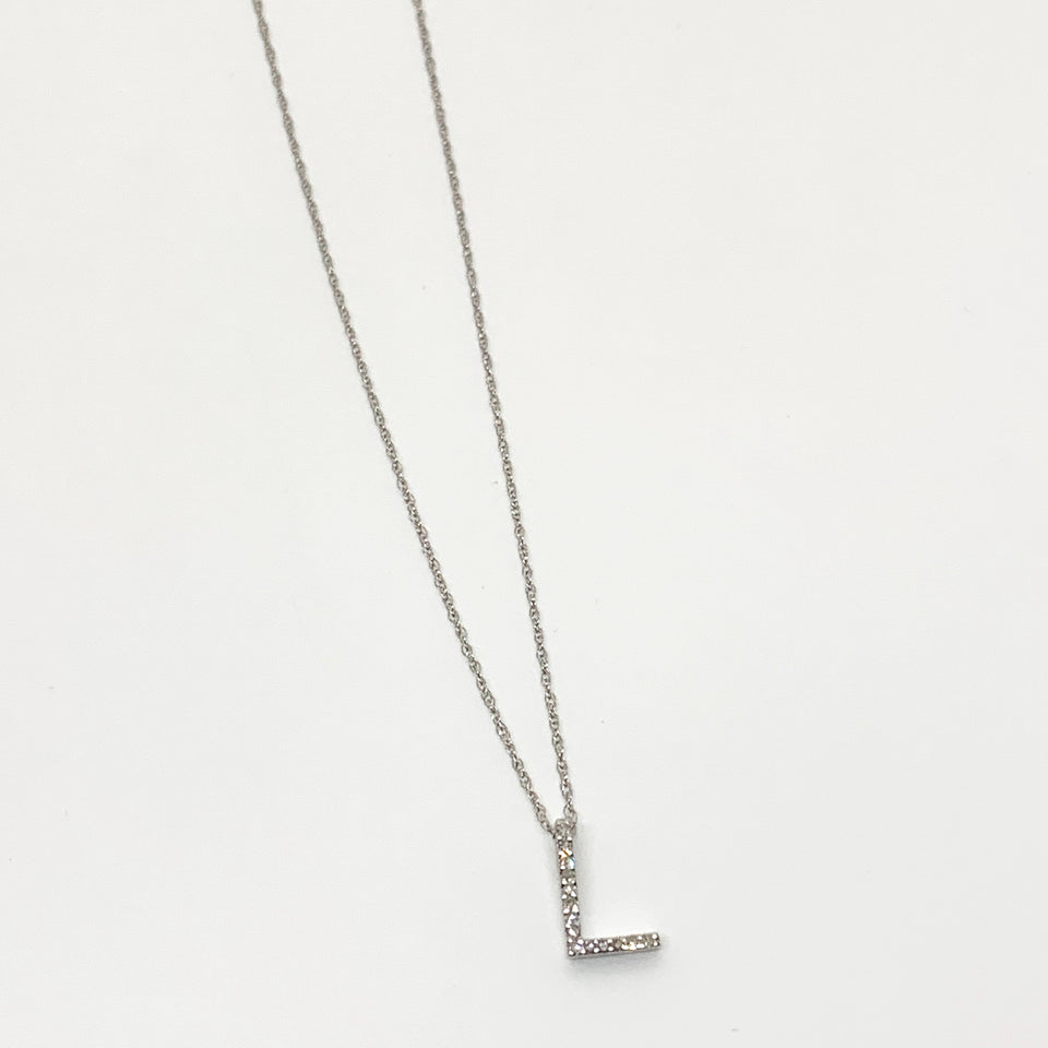 14 Kt Gold Diamond Initial Necklace