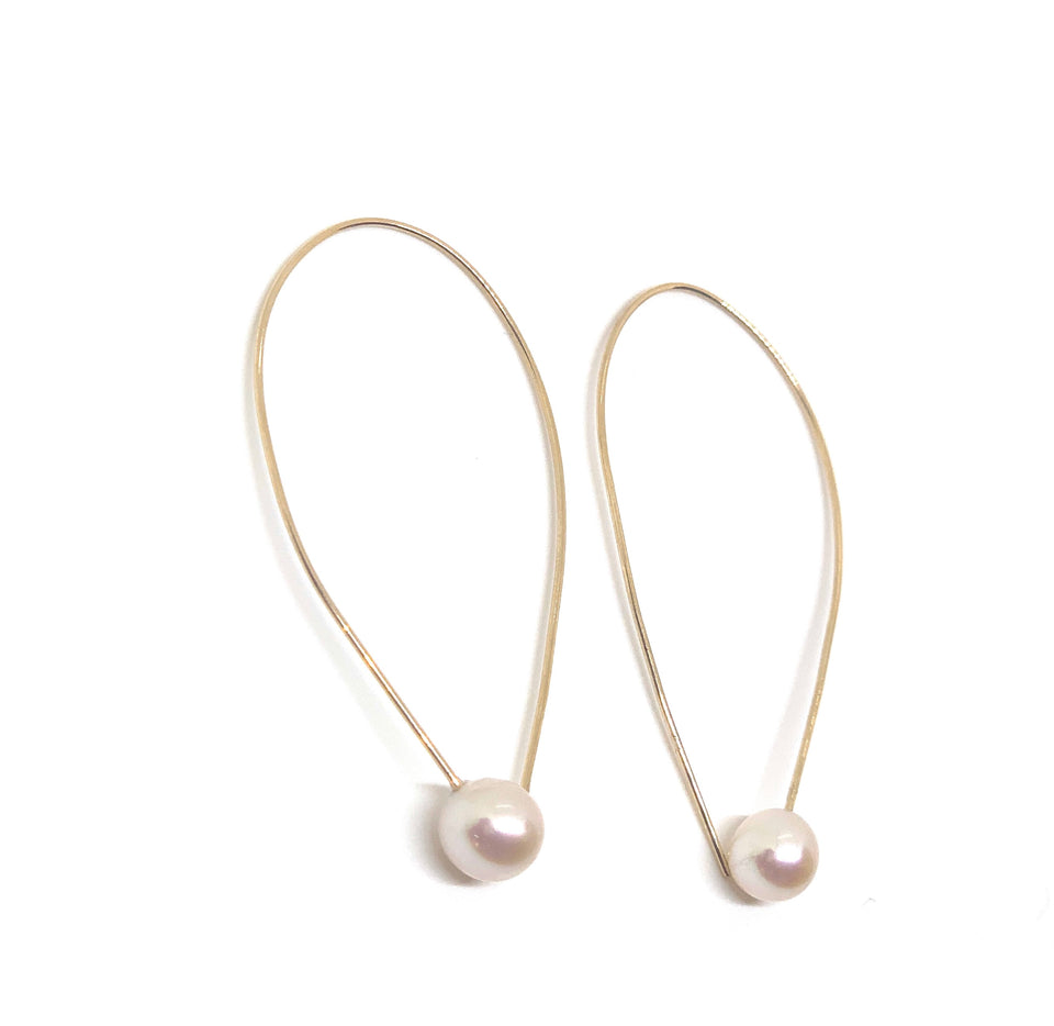14 KT Gold Pearl Accent Hoops