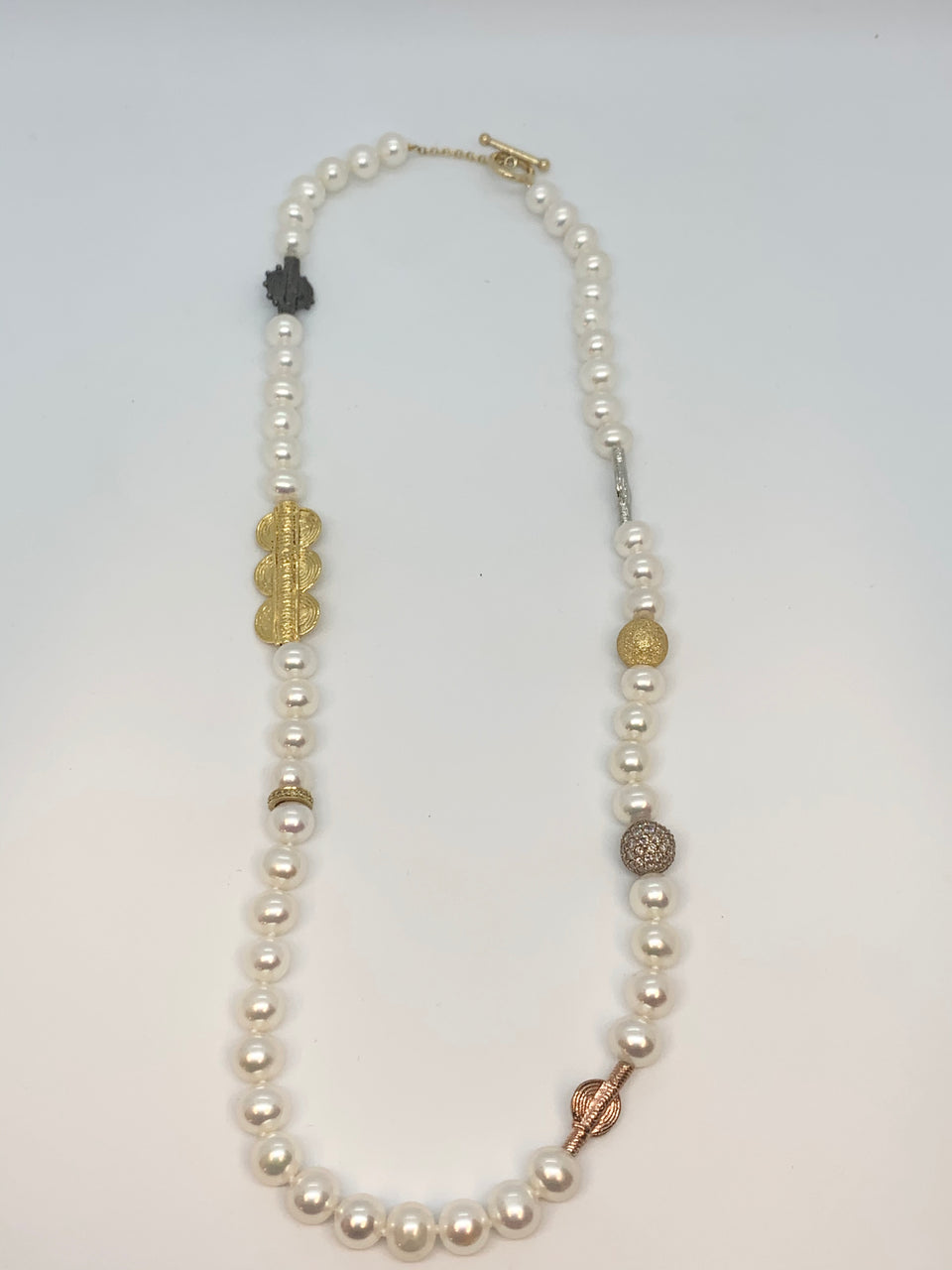 Diamond Tribal Pearl Necklace