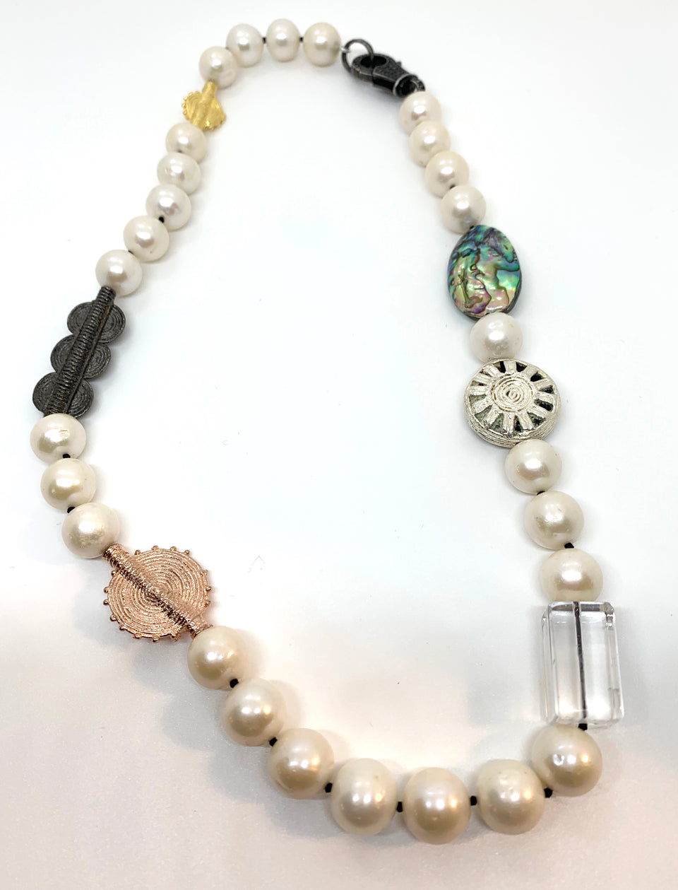 Rock Quartz & Black Spinel  Tribal Pearl Necklace