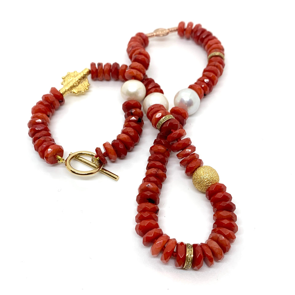 Red Coral Tribal Pearl Necklace