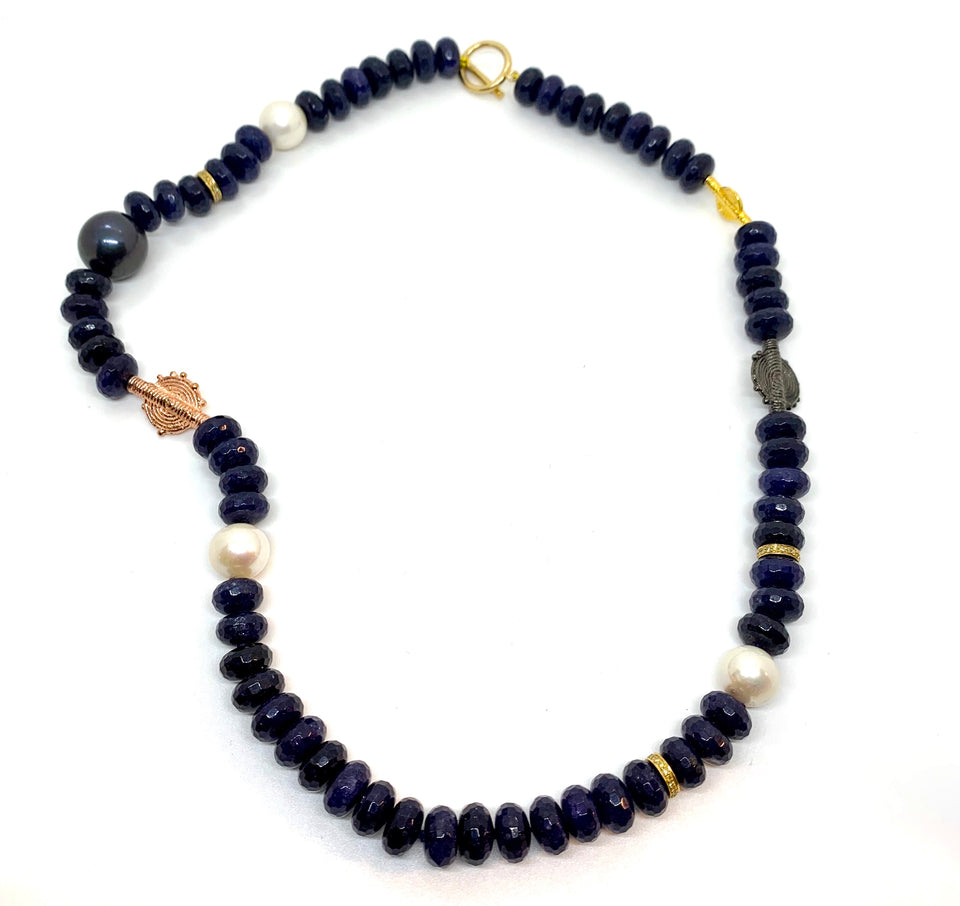 Blue Sapphire TriBal Necklace