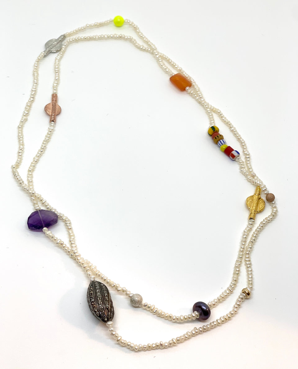 Seed Pearl & Diamond Tribal Necklace