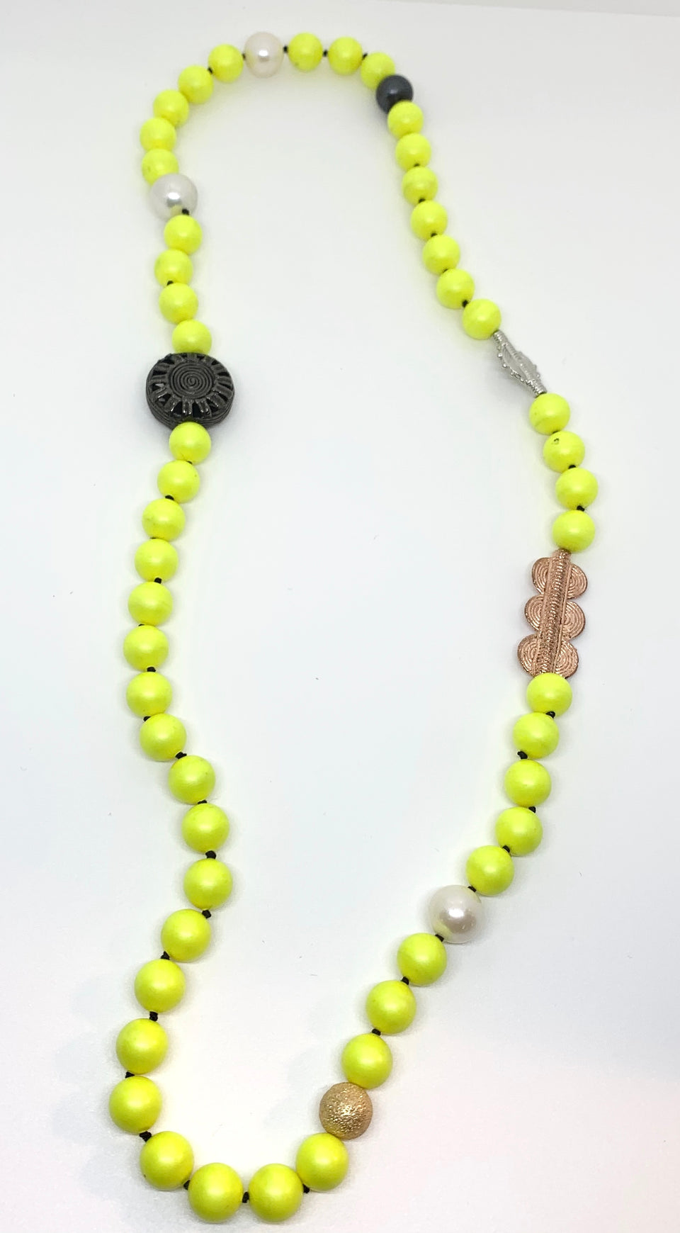 Chartreuse Tribal Pearl Necklace