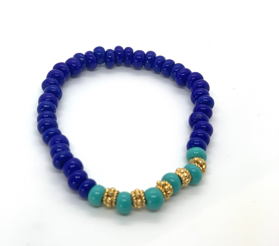 ML Navy & Gold Stretch bracelet