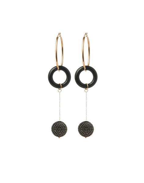 Black Onyx Talisman Hoops