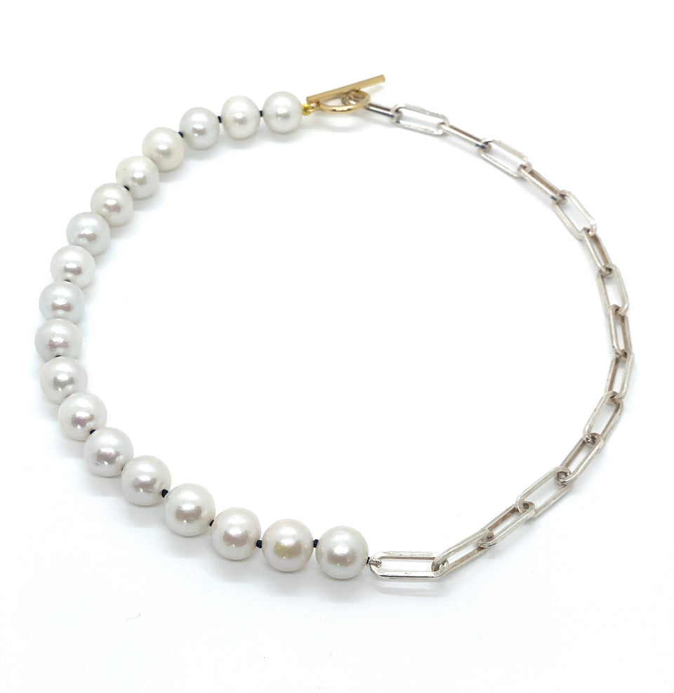 Freshwater Pearls & Sterling Silver Choker Necklace