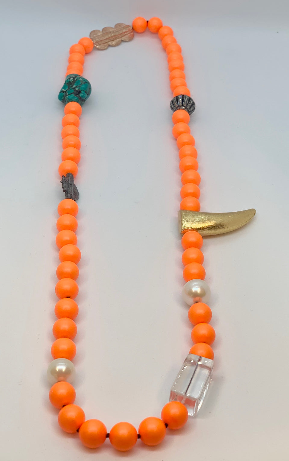 Cadmium Tribal Pearl Necklace