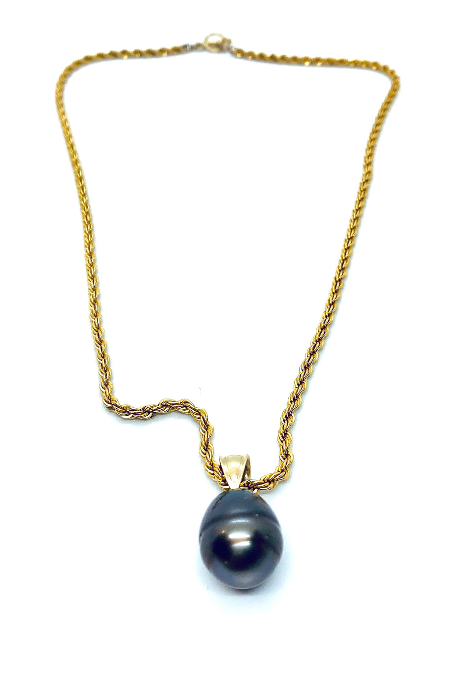 Rope Chain  & Black Pearl Drop Necklace
