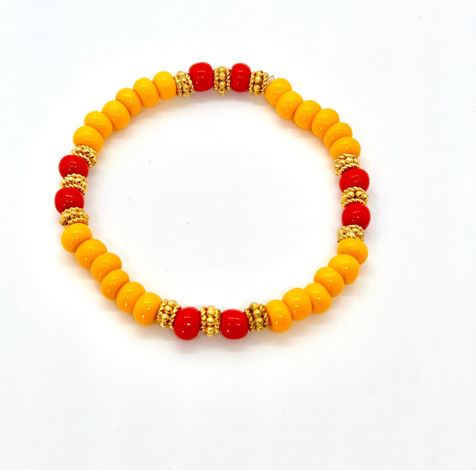 ML Marigold & Gold Stretch bracelet