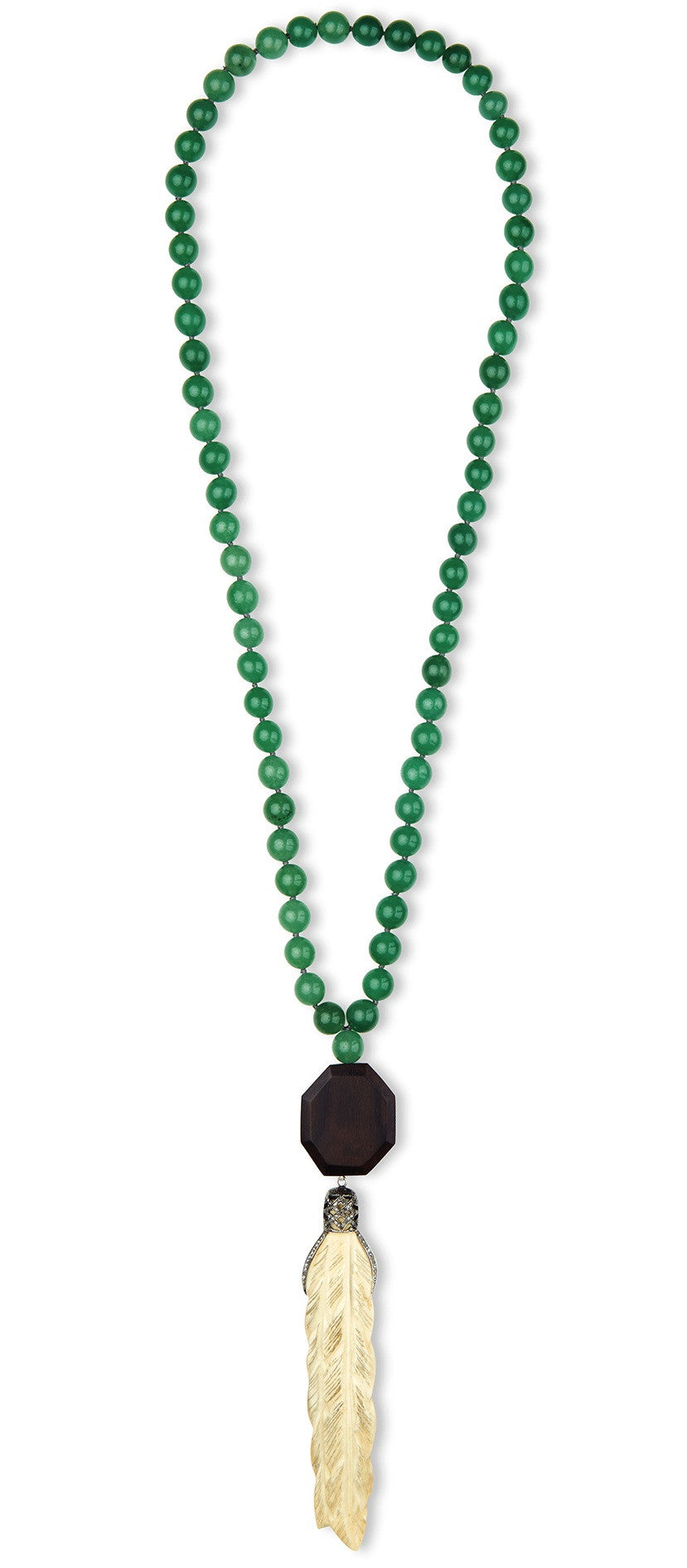 Jade Necklace with Feather