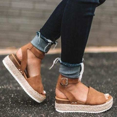 Women Open Toe Ankle Strap Espadrille Sandals - Lightweight Wedge Platform Sandal Shoes Summer 2020