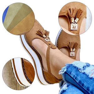 Women's Orthopedic Casual Platform Flat Comfort Shoes, Breathable Leather Walking Shoes High Damping Soles, 8 Unique Colors