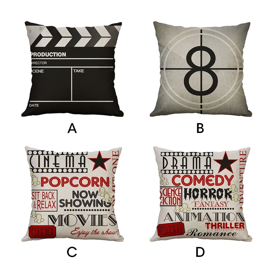 VINTAGE Pillow Cover | Movie Symbol Pattern | Gift for Him | Throw Pillow | 18 x 18 Pillow | Home Decor | Boyfriend Gift