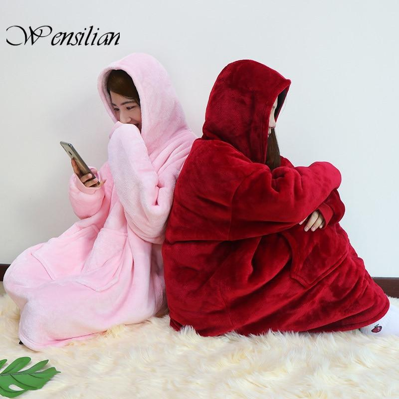 KYLIE Winter Oversized Hoodie, Warm Oversize Blanket With Sleeves Sweatshirts Christmas Gift Oversized Hoody Robe Casaco Feminio 2020 Design