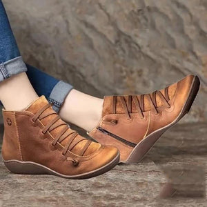 AZZY Premium Orthopedic Lace-Up Ankle Boots, Genuine Comfy Orthopedic Leather Boots, 2020 Design