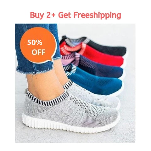 Cara Mesh Women Casual Slip On Shoes, FlyKnit Breathable Mesh Slip On Women Sneakers Anti Slip Soles