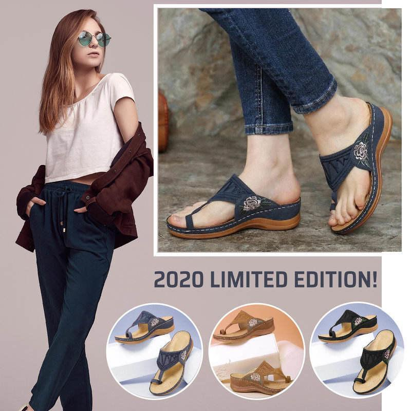 Dr.Care Zapatos Embroidery Orthopedic Comfy Flip Flop Sandals 2020, Walking Leather Sandals 2020