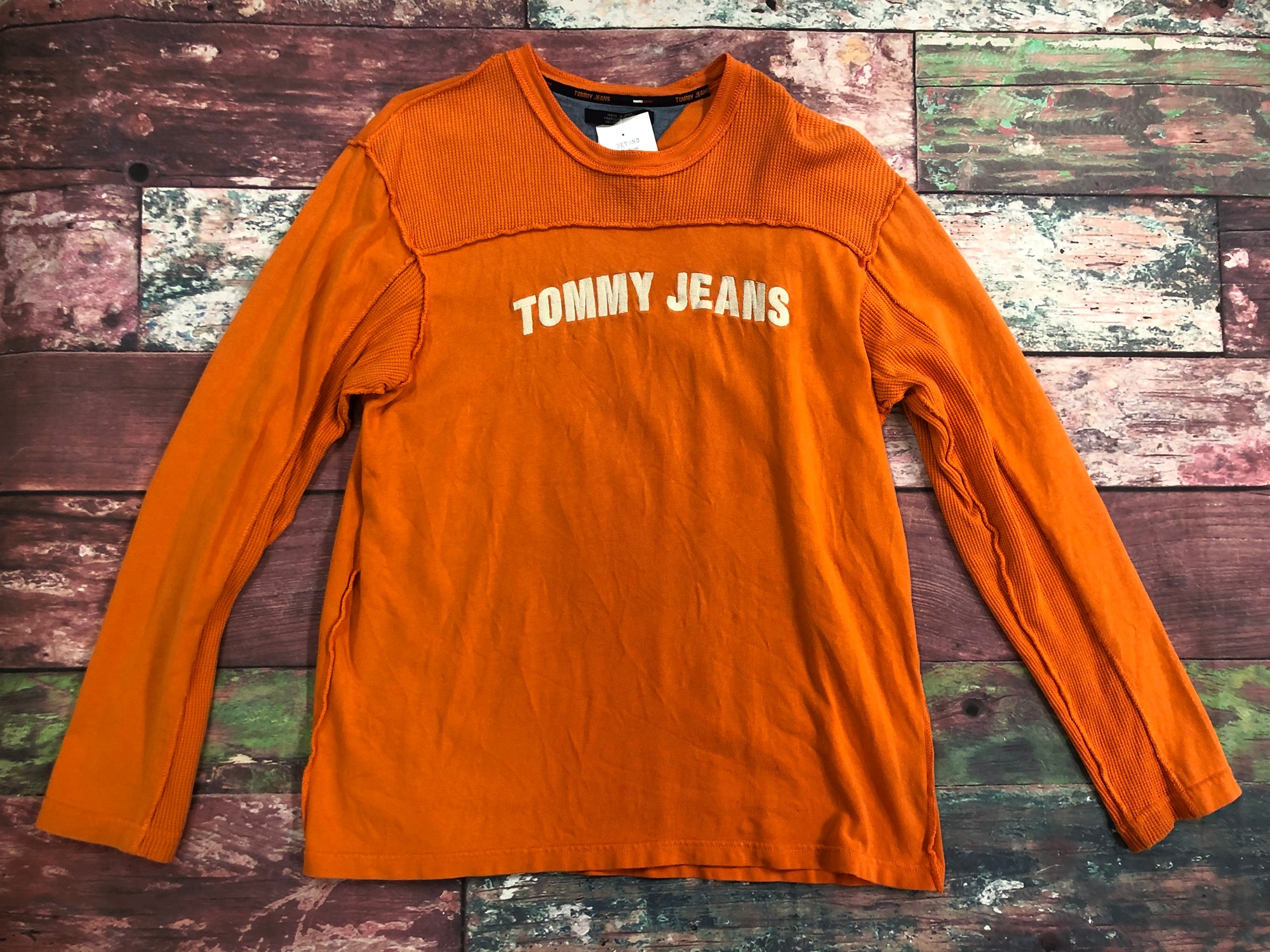 Vintage Tommy Jeans Spell Out Long Sleeve Orange Shirt Men Size Large