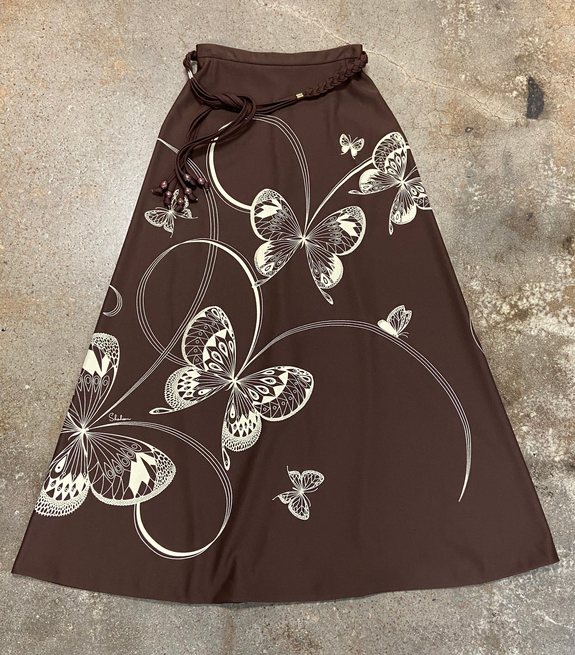 Vintage Miss Shaheen Dark Brown Butterflies Skirt Size 10