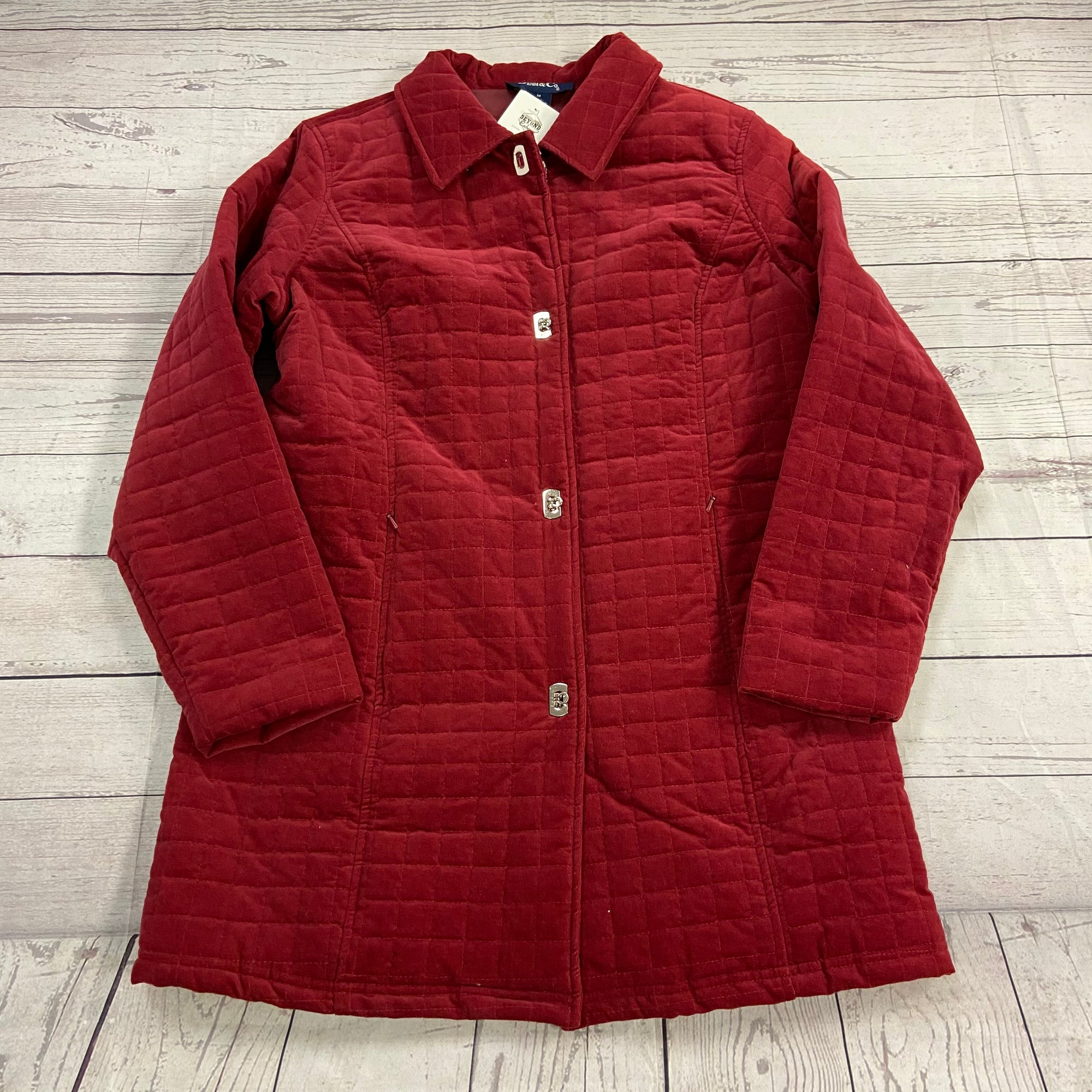 Denim Co Red Quilted Velvet Toggle Close Jacket Women's Size Medium NEW QVC