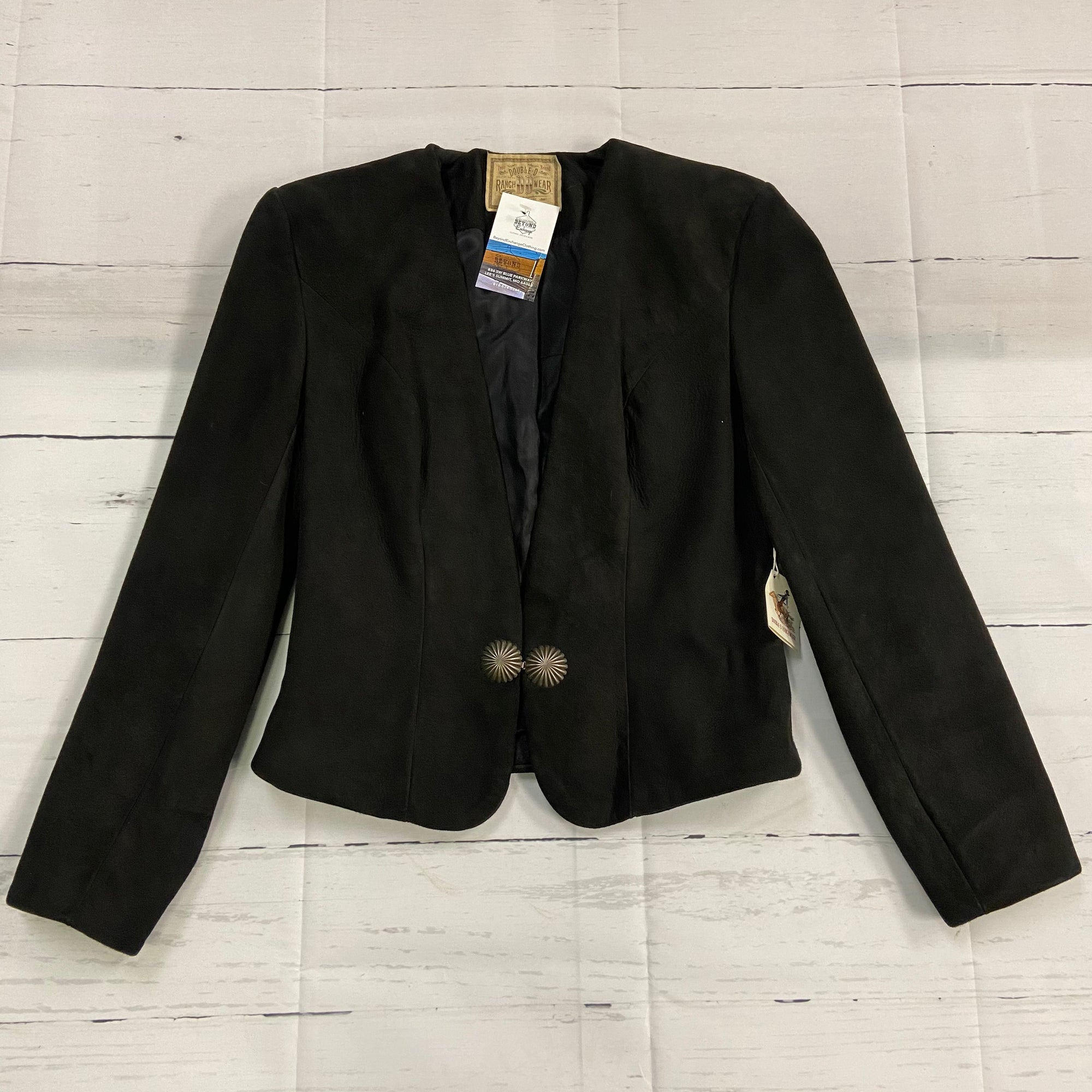 Double D Ranch Black Suede Leather Blazer Jacket Women's Size XS NEW
