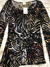 Daytrip Buckle Wild Print Long Sleeve Blouse Knot Front Women Size Small