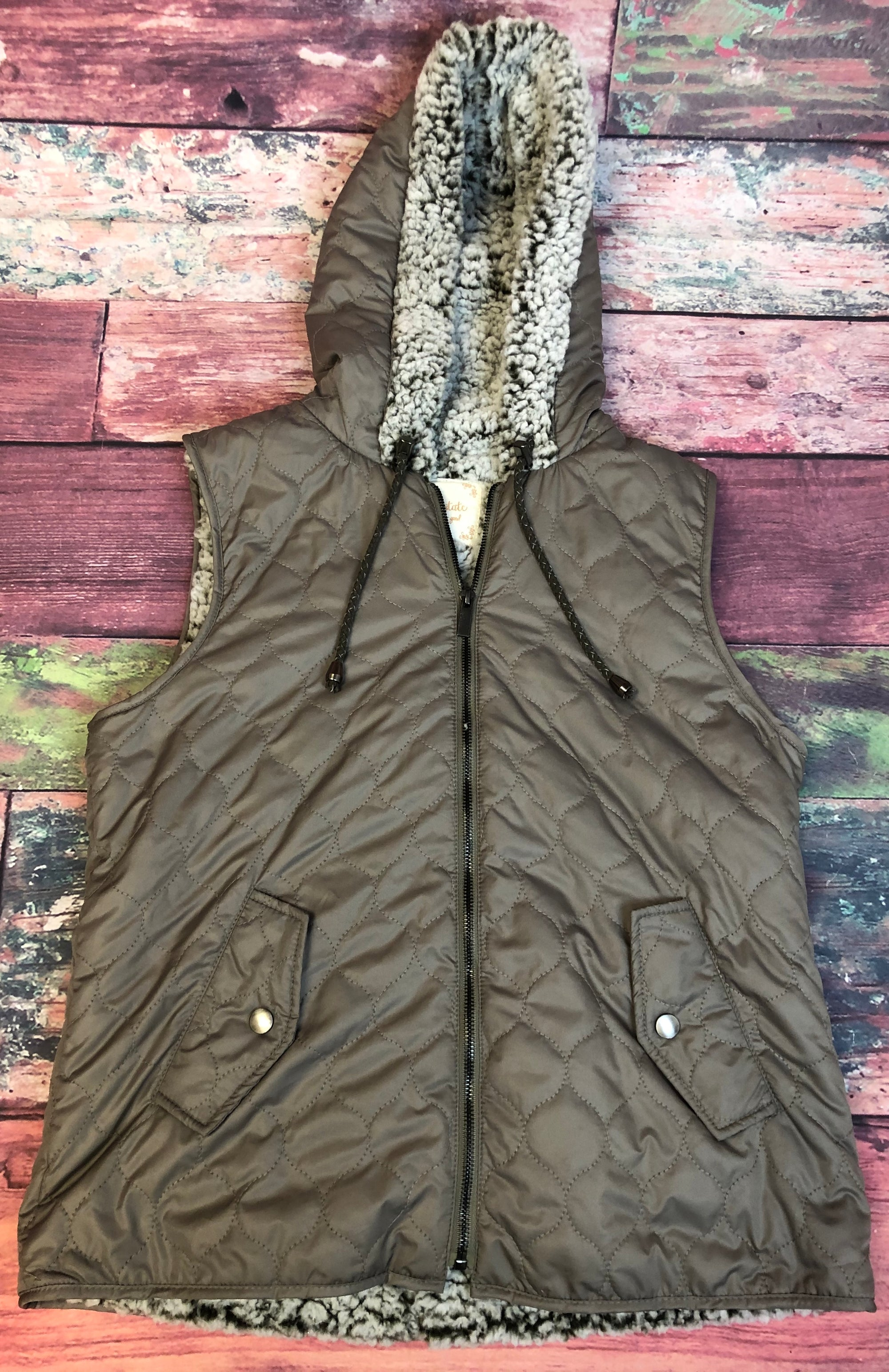 Alter'd State Faux Sherpa Lined Puffy Vest Women Size Small