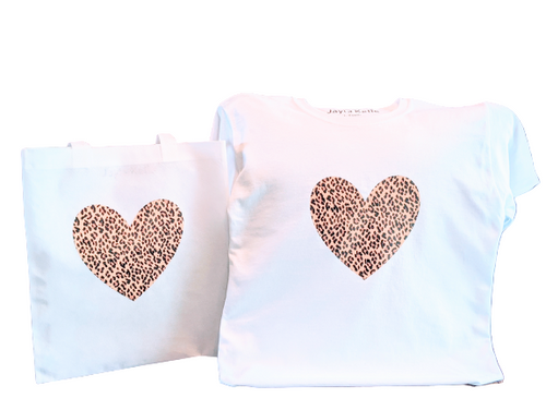 Leopard Print Heart T-Shirt With Matching Tote bag🤎