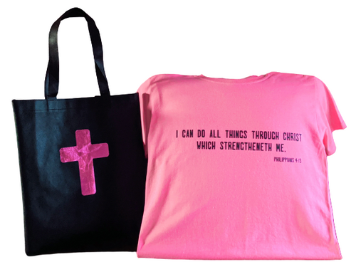 Philippians 4:13📖 T-Shirt With Matching Tote Bag